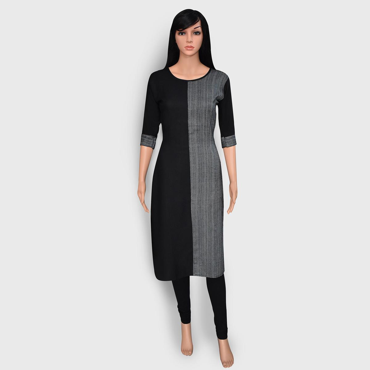 Excellent Black-Grey Colored Casual Wear Printed Rayon Kurti