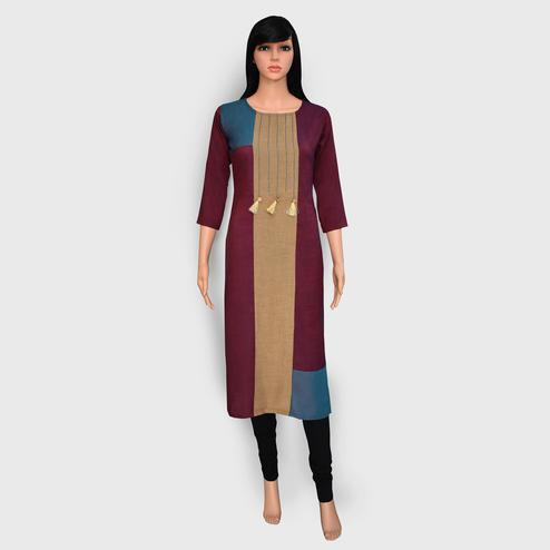 Preferable Wine-Beige Colored Casual Wear Printed Rayon Kurti