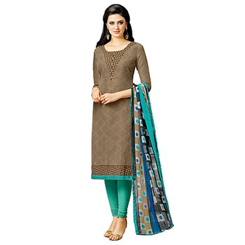 Brown Casual Wear Printed Slawar Suit