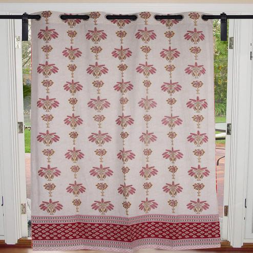Intricate Cream-Baby Pink Colored  Tree Print Cotton Grommet Curtain