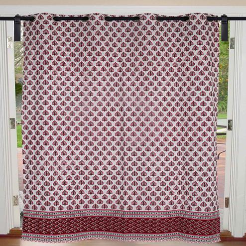 Exotic Cream-Magenta Pink Colored  Floral Geometric print Cotton Grommet Curtain
