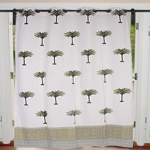 Radiant Cream-Green Colored Palm Polka Cotton Grommet Curtain