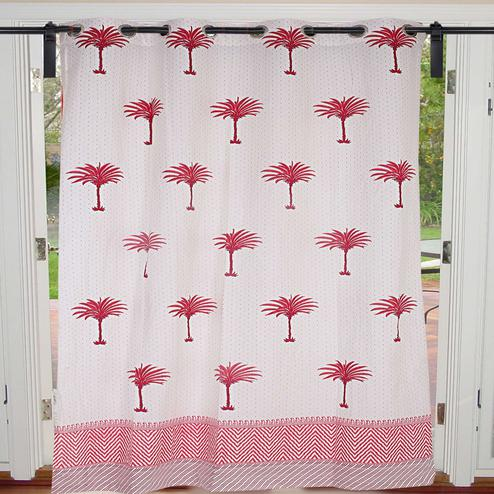 Opulent Cream-Pink Colored Palm Polka Cotton Grommet Curtain
