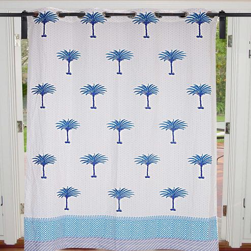 Energetic Cream-Sky Blue Colored Palm Polka Cotton Grommet Curtain