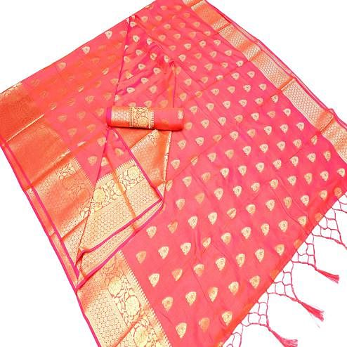Intricate Coral Red Colored Festive Wear Woven Art Silk Saree With Tassels