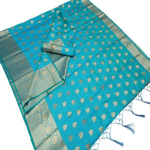 Arresting Sky Blue Colored Festive Wear Woven Art Silk Saree With Tassels