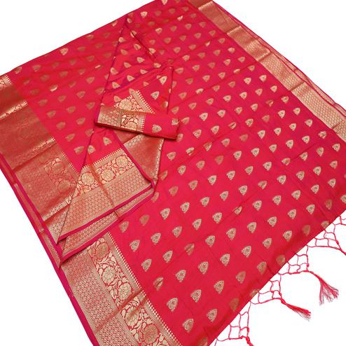 Desirable Red Colored Festive Wear Woven Art Silk Saree With Tassels