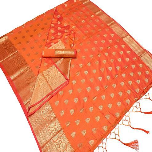 Exotic Orange Colored Festive Wear Woven Art Silk Saree With Tassels