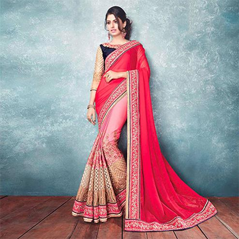 Lovely Pink Satin Georgette Designer Partywear Saree