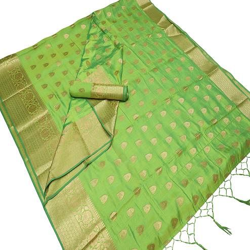 Elegant Green Colored Festive Wear Woven Art Silk Saree With Tassels