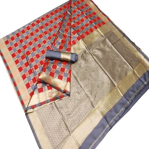 Glowing Red-Grey Colored Festive Wear Checks Woven Kota Silk Saree