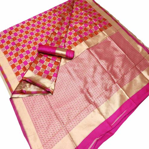Gleaming Pink Colored Festive Wear Checks Woven Kota Silk Saree