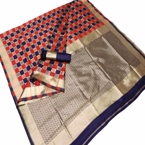 Mesmeric Red-Navy Blue Colored Festive Wear Checks Woven Kota Silk Saree