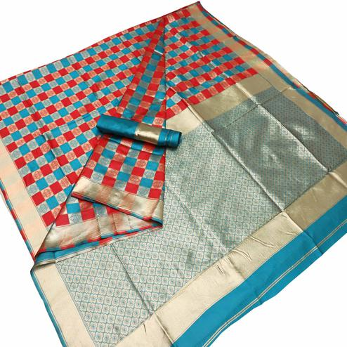 Refreshing Red-Blue Colored Festive Wear Checks Woven Kota Silk Saree