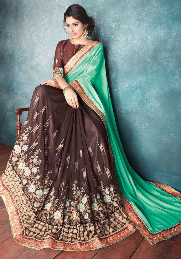 Classy Brown And Green Satin Georgette Designer Partywear Saree