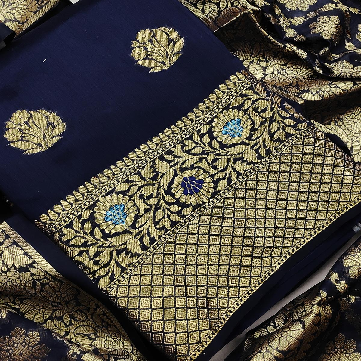 Sophisticated Navy Blue Colored Festive Wear Woven Banarasi Silk Dress Material