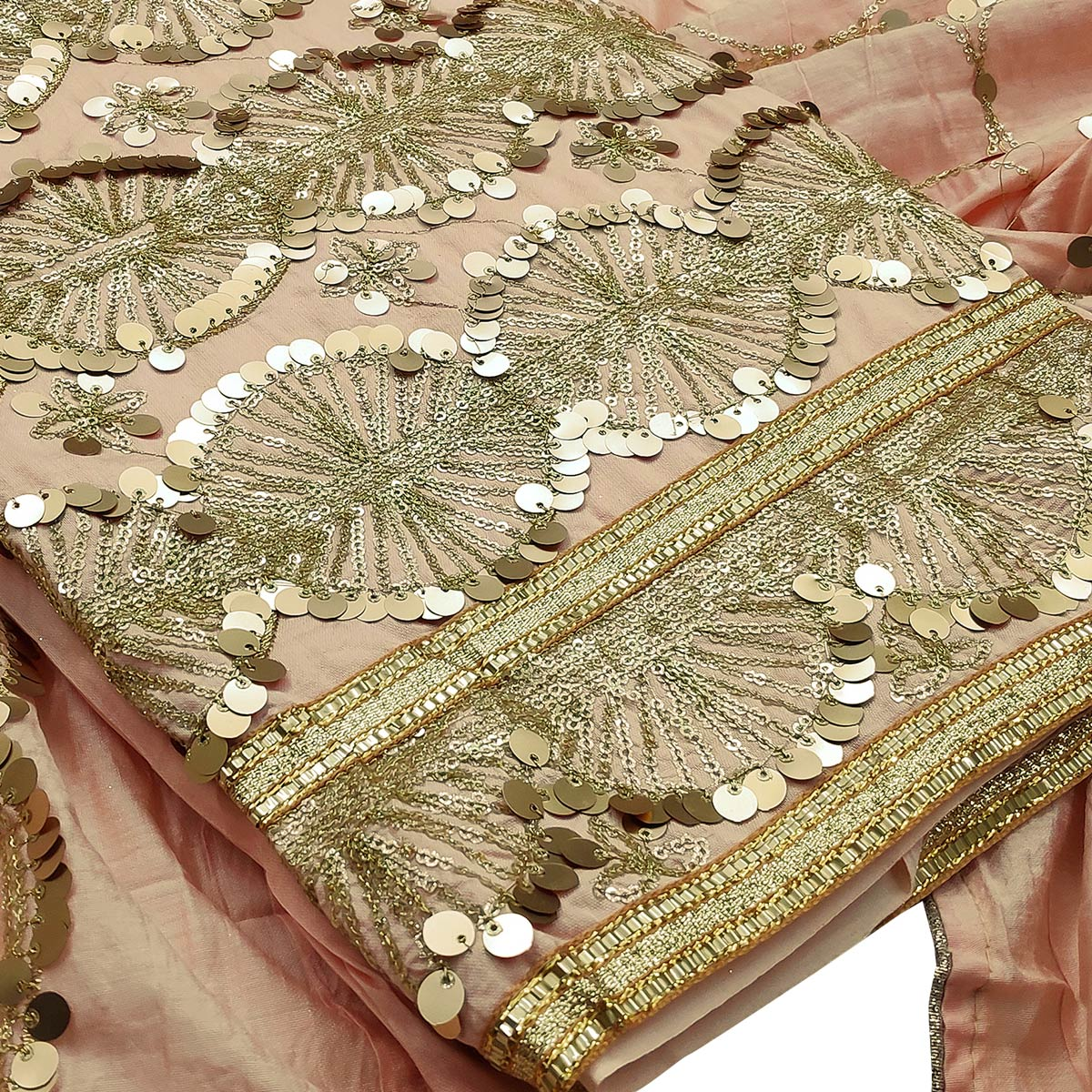 Glowing Peach Colored Partywear Embroidered Modal Silk Dress Material