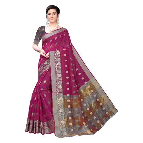 Intricate Magenta Pink Colored Festive Wear Woven Blended Cotton Saree