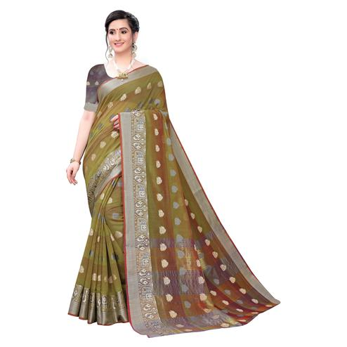 Arresting Olive Green Colored Festive Wear Woven Blended Cotton Saree