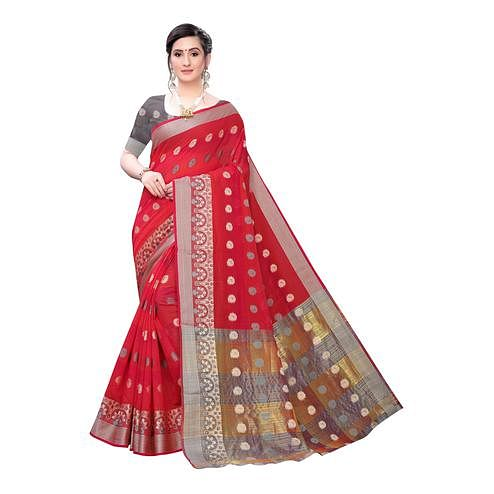 Desirable Red Colored Festive Wear Woven Blended Cotton Saree