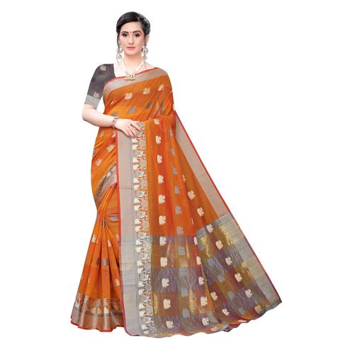 Exotic Orange Colored Festive Wear Woven Blended Cotton Saree