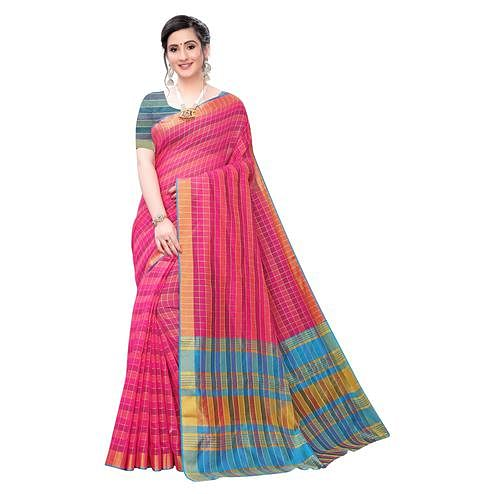 Trendy Pink Colored Festive Wear Woven Blended Cotton Saree