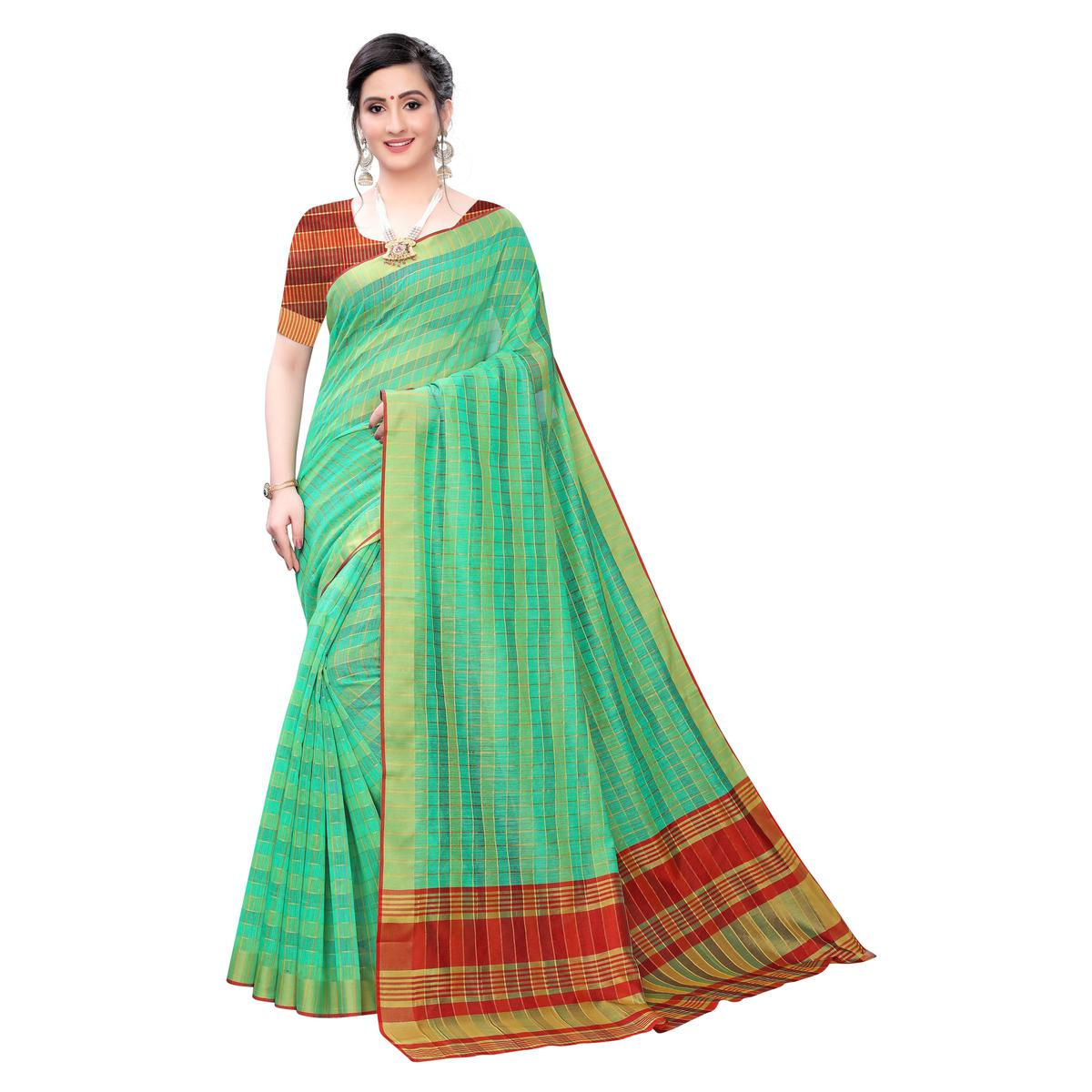 Elegant Green Colored Festive Wear Woven Blended Cotton Saree
