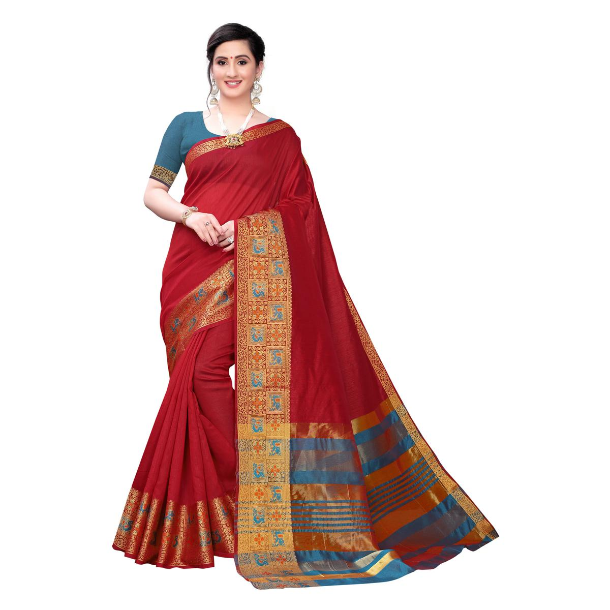 Eye-catching Red Colored Festive Wear Woven Blended Cotton Saree