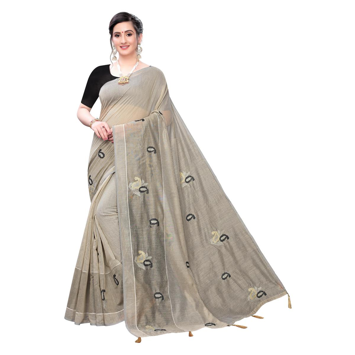 Gorgeous Grey Colored Festive Wear Woven Blended Cotton Saree