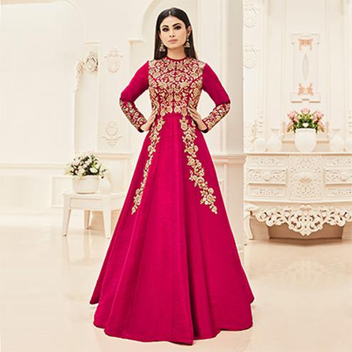 Beautiful Pink Designer Floral Embroidered Banglori Jute Silk Gown