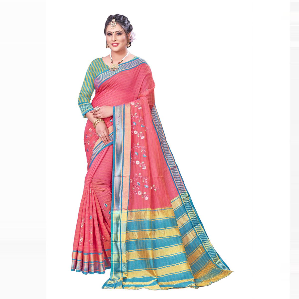 Pleasance Pink Colored Festive Wear Woven Blended Cotton Saree