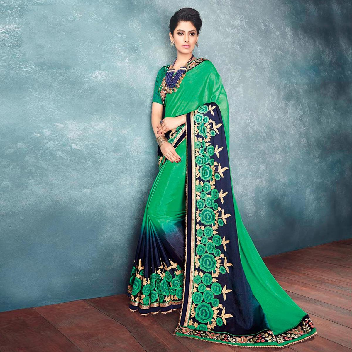 Glorious Green Georgette Designer Partywear Saree