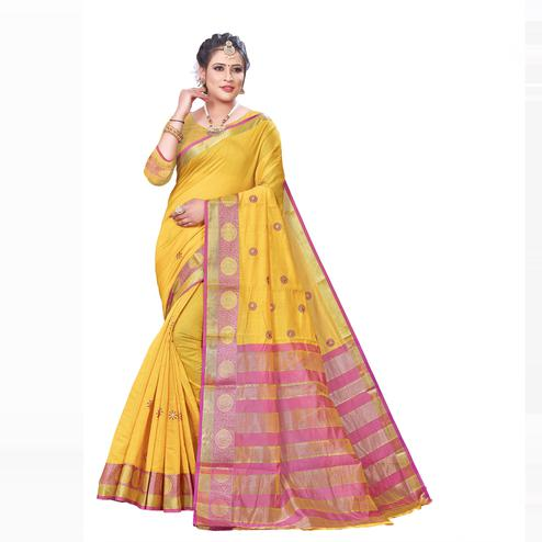 Dazzling Yellow Colored Festive Wear Woven Blended Cotton Saree