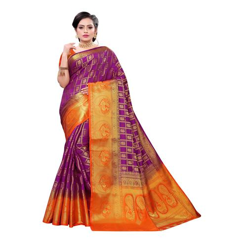Surpassing Purple Colored Festive Wear Woven Kanjivaram Art Silk Saree