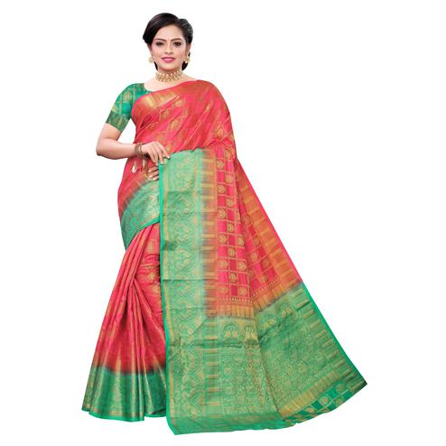 Desirable Coral Red Colored Festive Wear Woven Kanjivaram Art Silk Saree