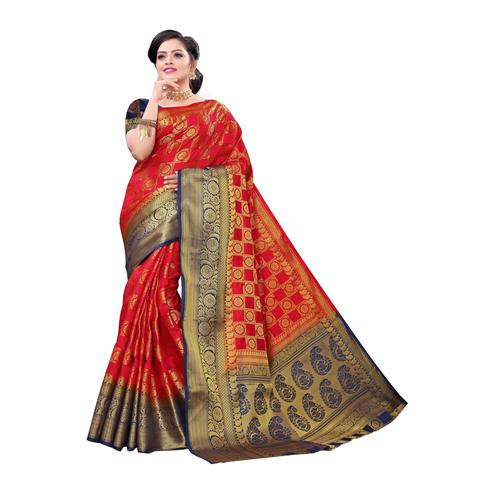 Exotic Red Colored Festive Wear Woven Kanjivaram Art Silk Saree