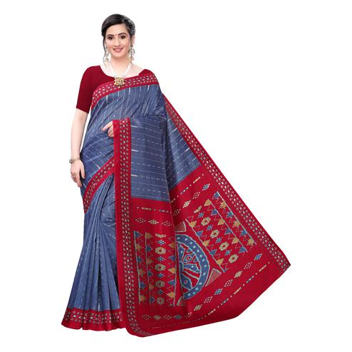 Adorable Navy Blue Colored Casual Wear Printed Joya Silk Saree