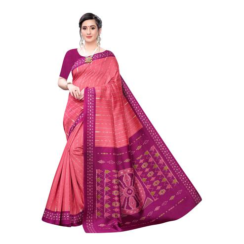 Glorious Pink Colored Casual Wear Printed Joya Silk Saree