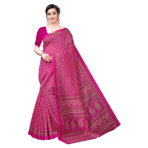 Attractive Hot Pink Colored Casual Wear Printed Joya Silk Saree