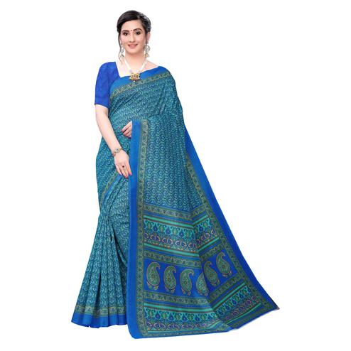 Beautiful Blue Colored Casual Wear Printed Joya Silk Saree