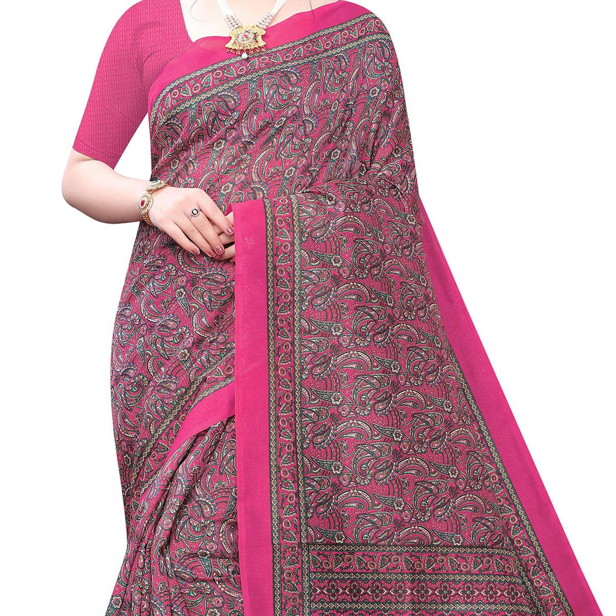 Graceful Mauve Colored Casual Wear Printed Joya Silk Saree
