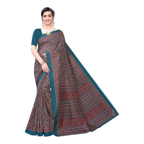Blooming Teal Blue-Maroon Colored Casual Wear Printed Joya Silk Saree