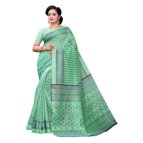 Charming Green Colored Casual Wear Printed Joya Silk Saree