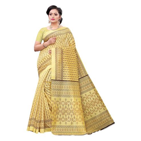 Jazzy Yellow Colored Casual Wear Printed Joya Silk Saree