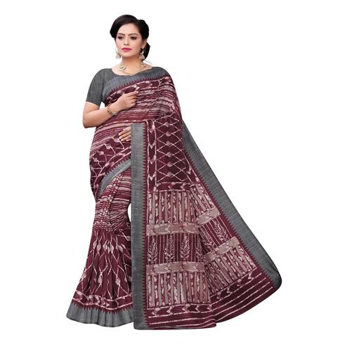 Delightful Maroon Colored Casual Wear Printed Joya Silk Saree