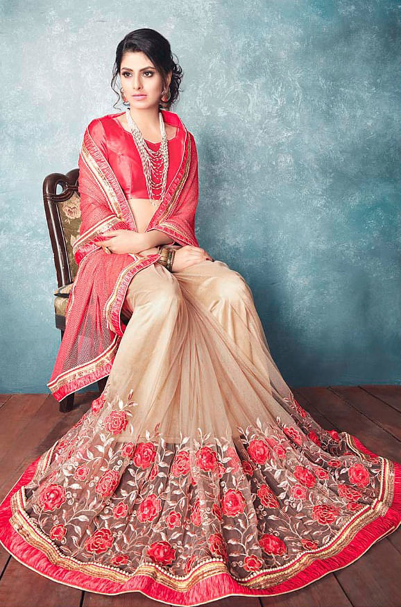 Hot Red And Beige Georgette And Net Designer Partywear Saree