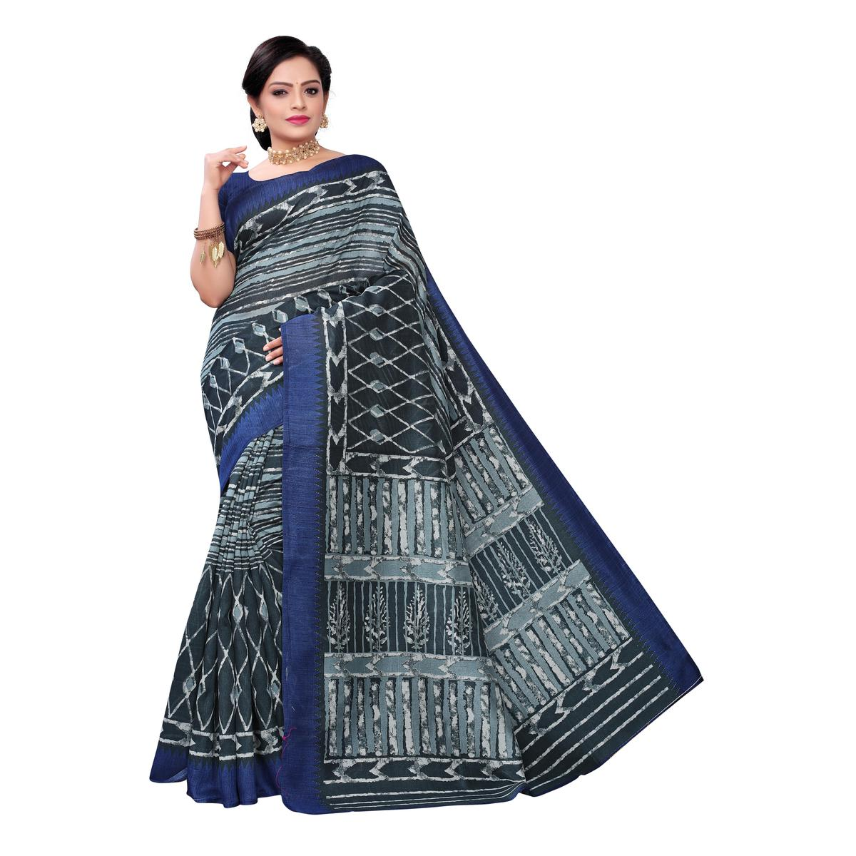 Engrossing Blue Colored Casual Wear Printed Joya Silk Saree