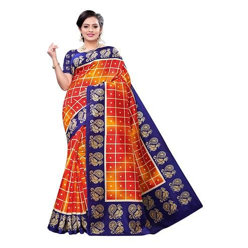 Captivating Orange Colored Casual Wear Printed Joya Silk Saree