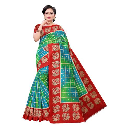 Innovative Green Colored Casual Wear Printed Joya Silk Saree