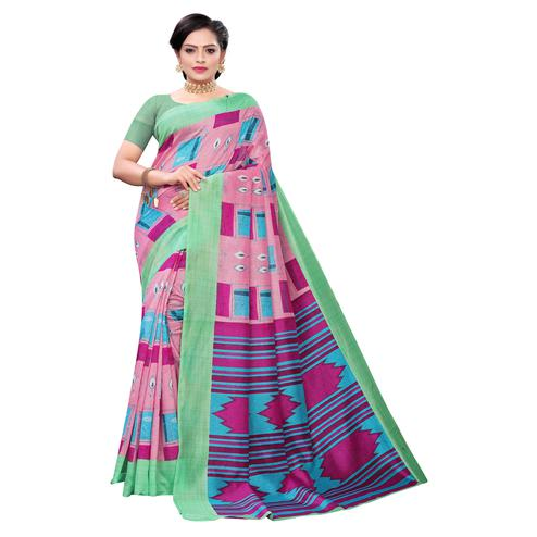 Fantastic Pink Colored Casual Wear Printed Joya Silk Saree